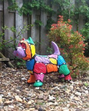 Vrolijke beelden kunststof beeld van westie voor huis en tuin