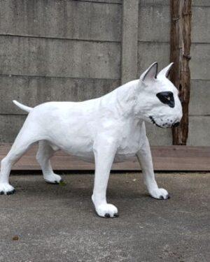 Een groot beeld van een hond Bull Terrier in wit met zwart oog en lange staart kopen bij vrolijke beelden voor in de tuin