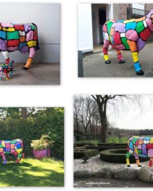 Grote beschilderde polyester geschilderde koeien kunskoeien voor in de tuin en buiten in de wei kopen online en op het internet