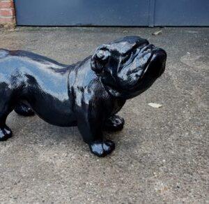 Modern beeld van een zwarte engelse bulldog