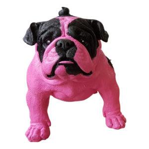Beeldje van een roze engelse bulldog