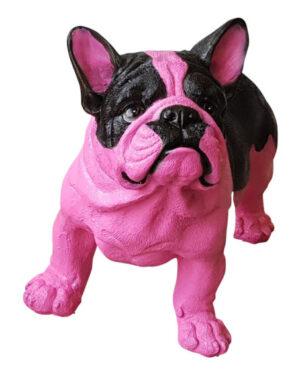 Beeldje van een roze franse bulldog