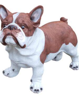 Polyester beeldje franse bulldog pup bruin