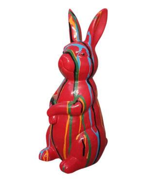 Beeld rood konijntje paashaas kleuren