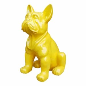 Modern polyester beeld van een franse bulldog geel