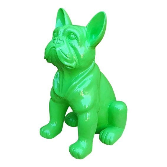 Modern beeld van een groene franse buldog