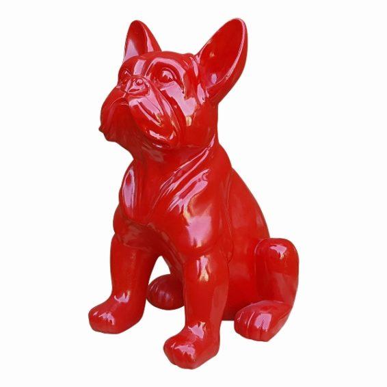Moderne rode beelden van een polyester franse bulldog