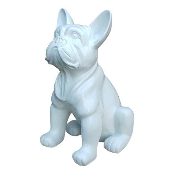 Moderne witte beelden van franse bulldogs
