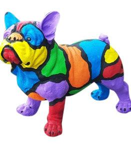 Modern gekleurd beeld van een franse bulldog