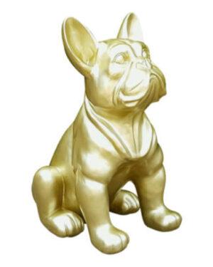 Kunststof beeld van een franse bulldog in gouden kleur