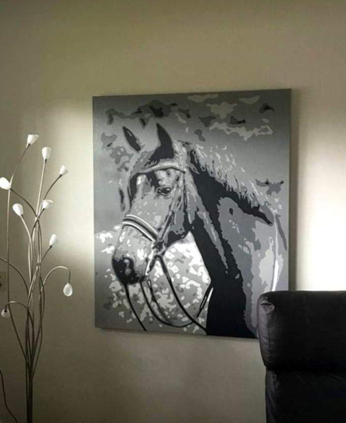 Modern zwart wit schilderij Popart portret van paard