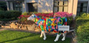 Een koe levensgroot van kunststof in de stijl van picasso geschilderd