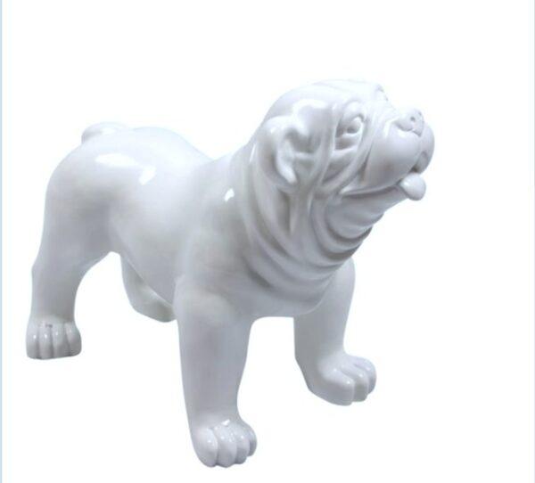 Kunststof XL beeld van een witte engelse bulldog