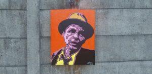 Popart portret en schilderij van frank sinatra geschilderd door vrolijke beelden