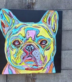 Popart schilderij van een franse bulldog