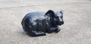 Polyester beeld van een zwart varken