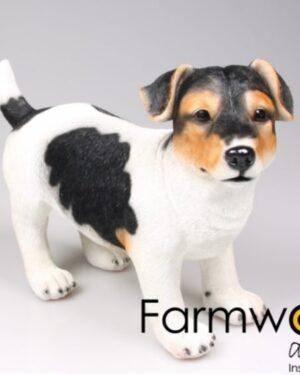 Mooi beeldje van een witte jack russel met bruine vlekken hond