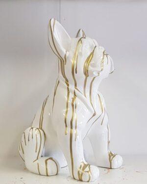 Franse bulldog beeld wit met goud en goudverf