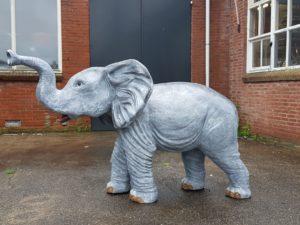 Een mooi staand beeld van een baby olifant in grijs
