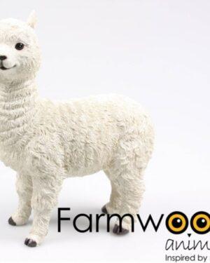 Een polyester beeldje van een witte alpaca
