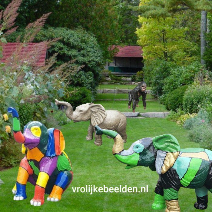 Tuinbeeld olifant en apen beeld gorilla