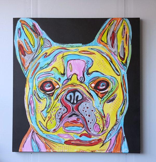 Portret en schilderij van een bulldog geschilderd door portretschilder