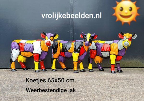 geschilderde koetjes, gekleurde beelden van koeien kopen en bestellen bij Vrolijke Beelden